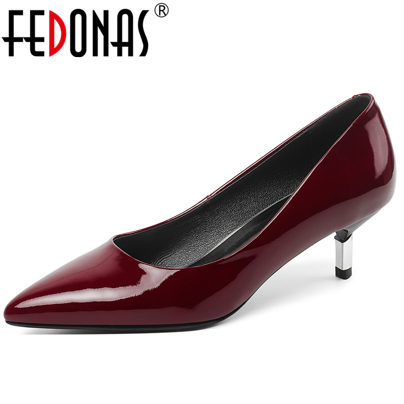 FEDONAS Fashion Concise Elegant Women Cow Patent Leather Shoes Wedding Party Casual Solid Color Pointed Toe Shallow Shoes Woman