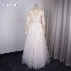 Image 2 - Long Sleeve V Neck Shinny Wedding Dress With Sparkle Tulle Lace Appliqued Floor Long Dancing Bridal Gown 2020 New Design