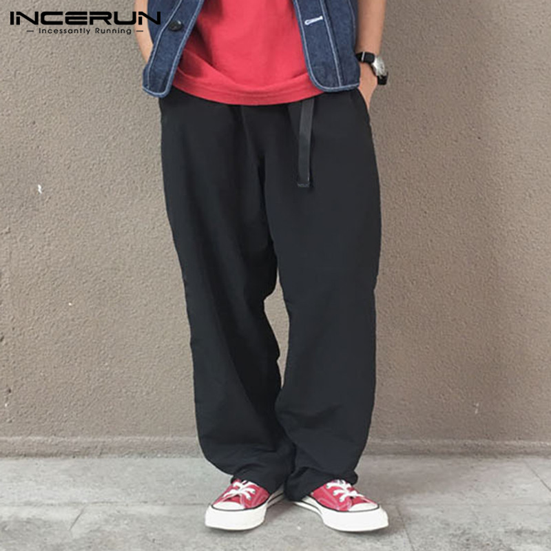 INCERUN Men Wide Leg Pants Solid 2020 Streetwear Belt Cotton Baggy Joggers Casual Pants Retro Long Trousers Men Harajuku S-5XL 7