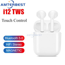 AMTERBEST i12 TWS Original Portable Wireless Bluetooth Earphones Touch Control Headsets Stereo Earbuds for Smartphones PK i500