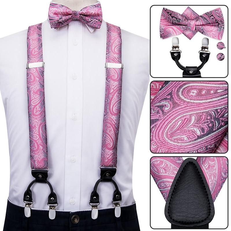 Hi-Tie Mens Wedding Suspenders Leather 6 Clips Party Pre-Tied Bowtie Pocket Square Set Adjustable Suspenders Man Pink Braces