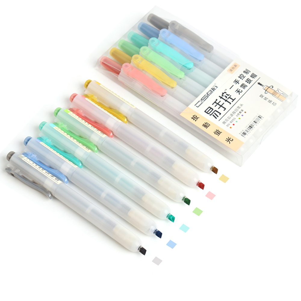 Retractable Highlighters Fluorescence Pastel Highlighters Refillable Highlighter Pen Chisel Tip Assorted Colors School Supplies