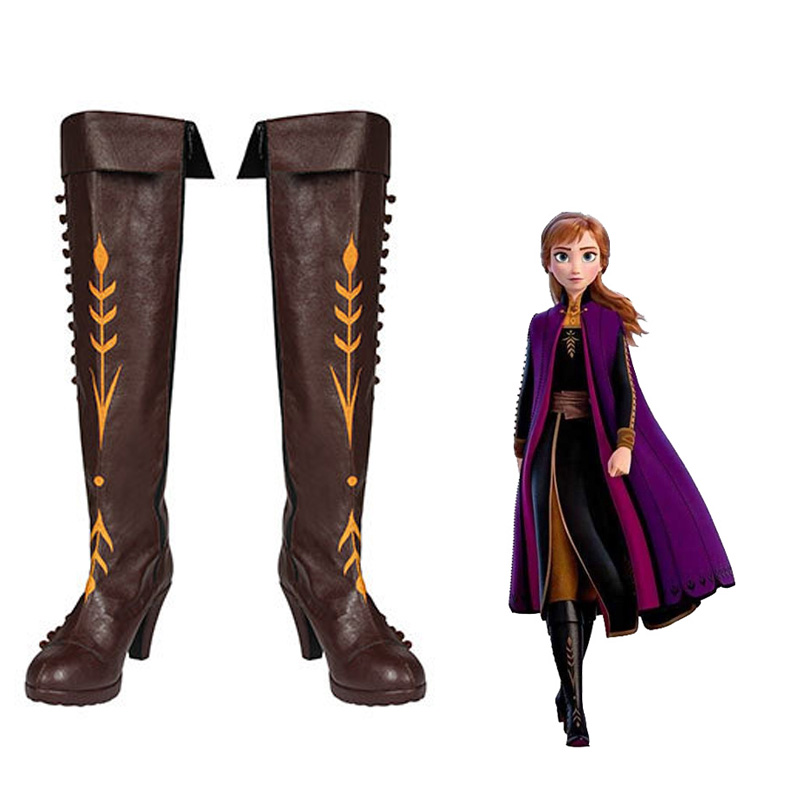 2020 New Anna And Elsa Snow Queen Costume Party Christmas Halloween High Quality Anna Adult Brown High Heel Boots