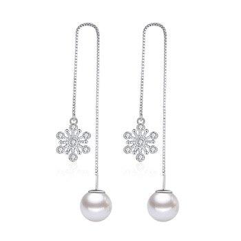 100% de Plata de Ley 925 de moda de copo de nieve de cristal de perlas mujer larga borla pendientes de joyería de las mujeres regalo de Navidad barato