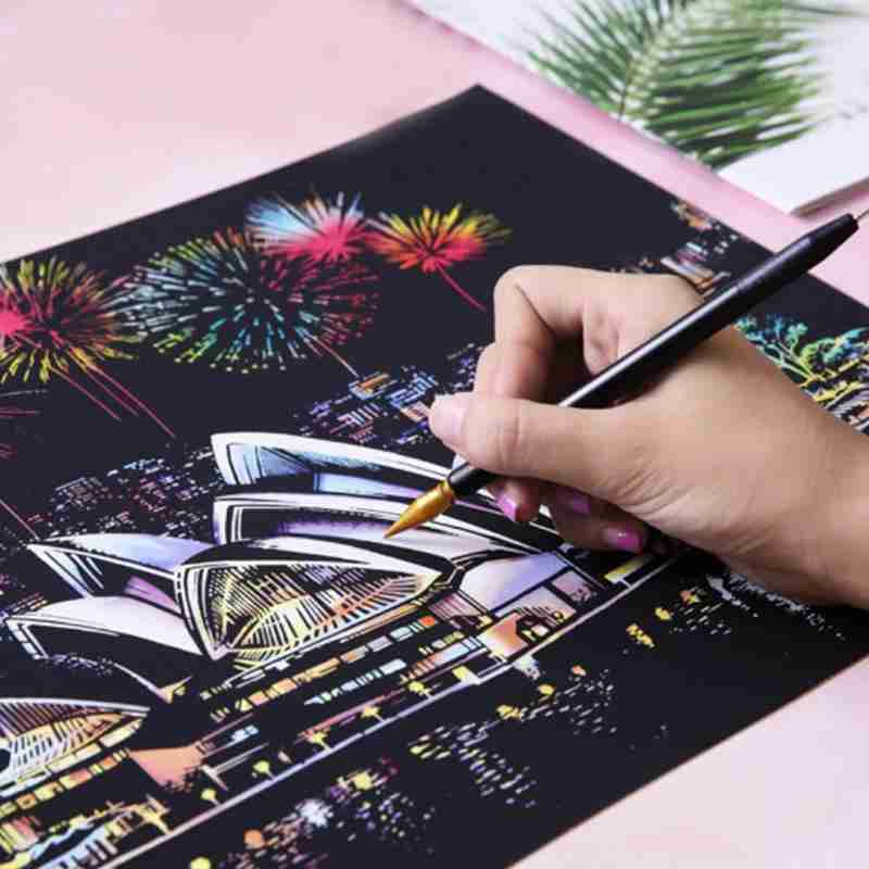 Large City Night Scratch Picture Painting Kids Scraping Paper Travel Memory Urban Night Scene DIY Craft W/ 2 Pens Birthday Gift
