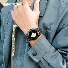 цена на Sanda Quartz Wristwatches sport waterproof watch men mesh steel strap military watch black luxury reloj hombre marca de lujo