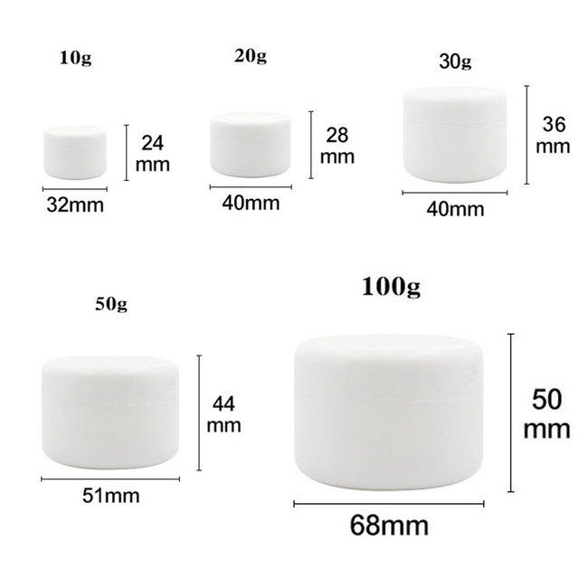 30Pcs 10g/20g/30g/50g/100g Empty Makeup Jar Pot Refillable Sample bottles Travel Face Cream Lotion Cosmetic Container White 2