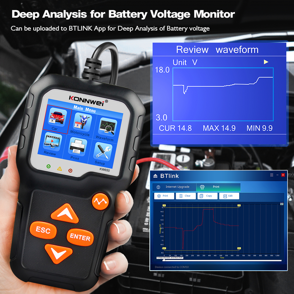 KONNWEI KW650 Battery Tester 12V 6V Car Motorcycle Battery System Analyzer 2000CCA Charging Cranking Test Tools for the Car 4