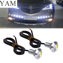цена на YAM 1 Pair DC 12V 23mm Eagle Eye LED Daytime Running DRL Light Car Auto Lamp White #1