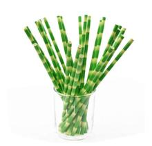 25pcs Green Bamboo Paper Straws Happy Birthday Wedding Decorative Event Party Supplies Drinking Straw kaaral happy sun bamboo oil