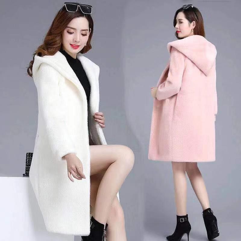 New woolen sweater women's mid-winter fall long loose-fitting hooded sheer cardigan coat wool coat women coat women long coat