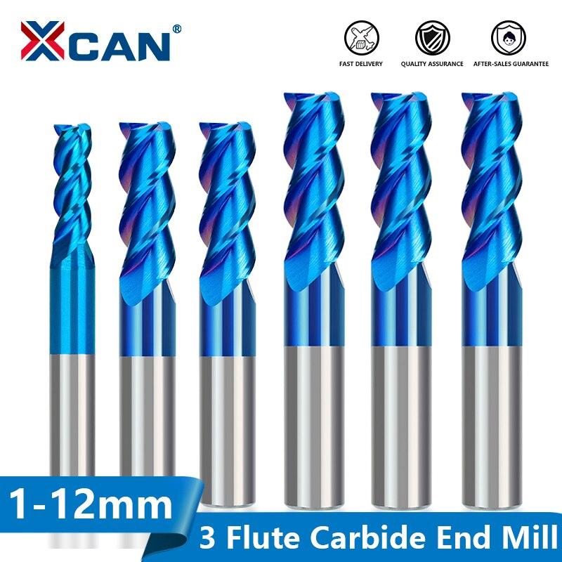 Концевая фреза XCAN с голубым покрытием, твердосплавная спиральная фреза с 3 канавками, 1 шт., 1-12 мм