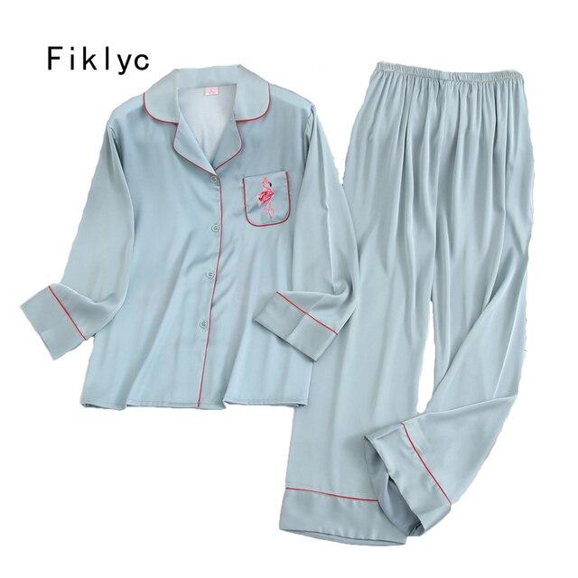 Fiklic pyjama femme soie manches longues, ensemble pyjama satin, printemps 2020