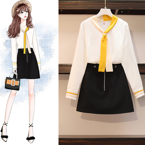 Новинка весны 2020, женская одежда большого размера, белая блузка, черные юбки, два предмета, женская рубашка, юбка, комплект одежды, костюм