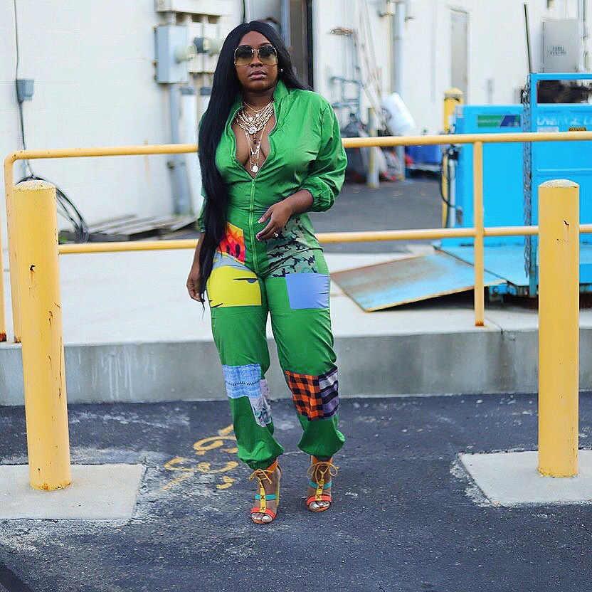 NEW Women Stylish Long Sleeves Mesh Patchwork Print Zipper Bodycon Club Jumpsuit