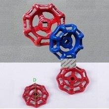 12 шт./лот красный синий спиральный круглый чугунный маховик для клапанов маховик шиберной задвижки квадратный центр контроль газового клапана