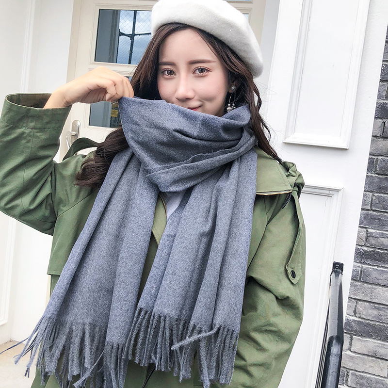 2019 Autumn And Winter Cashmere Scarf Women's Winter SKY Solid Color Faux Cashmere Scarf Dongdaemun Scarf Scarf Shawl