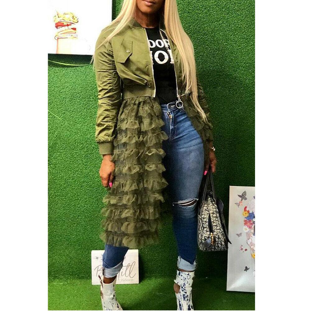 Jaqueta feminina moda cor sólida manga longa