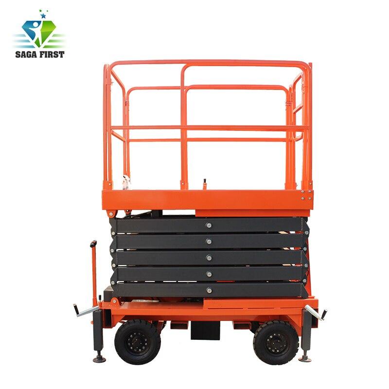 China Good Quality 4 Wheels Mobile Semi-Electric Hydraulic Scissor Lift
