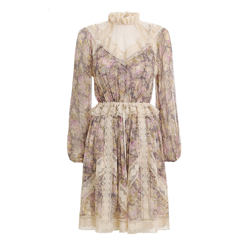 MIAOQING Vintage Lace Patchwork vestido con mangas puff Ruffle cuello alta cintura Vestidos Mujer 2019 otoño moda nuevo - 6