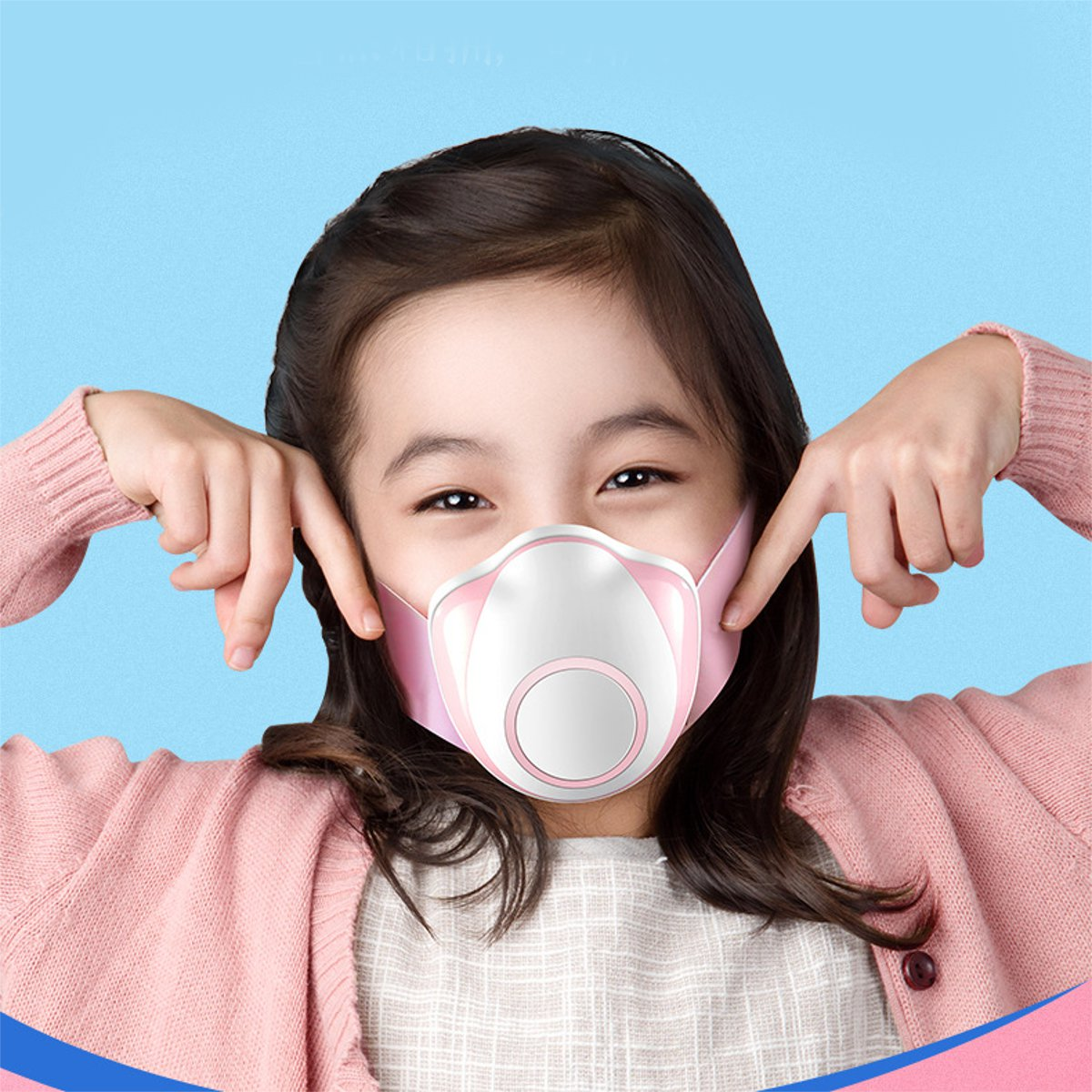 Children Smart Electric Face Mask Air Purifying Anti Dust Pollution Fresh Air Supply PM2.5 With Breathing Air Valve Dust Mask