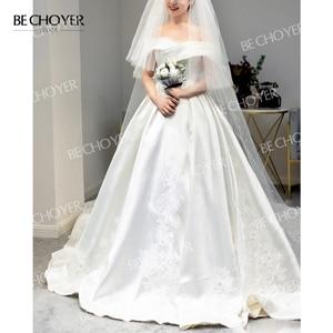 Image 4 - Sweetheart Off Shoulder Satin Wedding Dress Appliques A Line Court Train BECHOYER I193 Princess Bridal Gown Vestido de novia