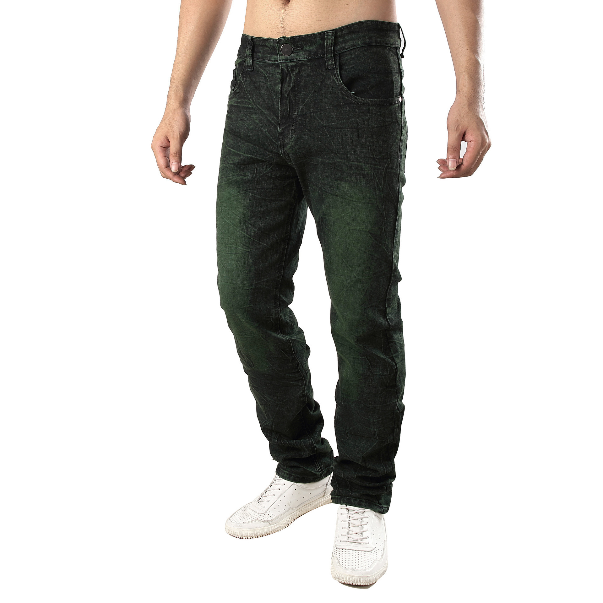 2019 Hot Selling Cowboy Trousers Men Ultra-stretch Slim Fit Jeans Dyeing Gray-green Cool Men'S Wear