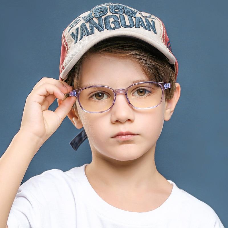 TR90 Children Anti-blue Light Glasses for Export Fashion Transparent Color Children Anti-blue Light Flat Glasses