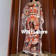 Кувейт Дашики Платье с принтом богемный хиджаб свободные элегантные