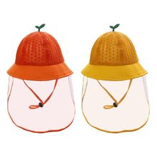 Toddler Baby Protective Bucket Hat Full Face Shield Anti Spitting Fisherman Cap 50PF