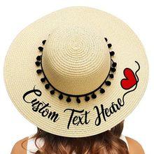 Personalisierte Stickerei Stroh Hut Text Name Strand Hut Sonne Hut Für frauen Sommer Hut Schwarz Pompon Weiblich Sonnenschirm kappen