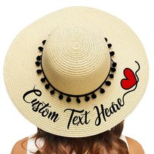 Personalized Custom Name Hats For Womens Summer Wide Brim Beach Hat  Bridal Bridesmaid Sun Straw Hats