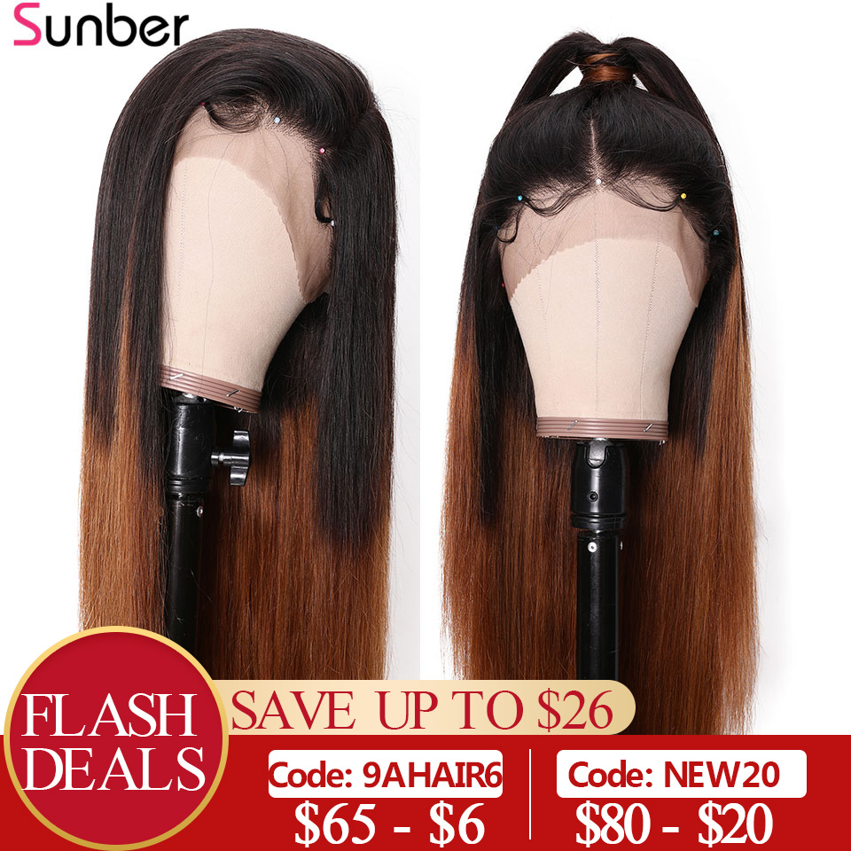 13X6 Deep Part Ombre Brown Pre Plucked Lace Front Wigs 150%  Remy Brazilian Straight Lace Human Hair Wigs With Bady Hair Sunber