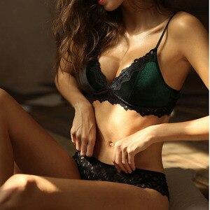 Image 3 - CINOON New Velvet Bra set Luxury Lace Trim Underwear Women Lingerie Soft Comfortable Brassier VS Underwear Women Set