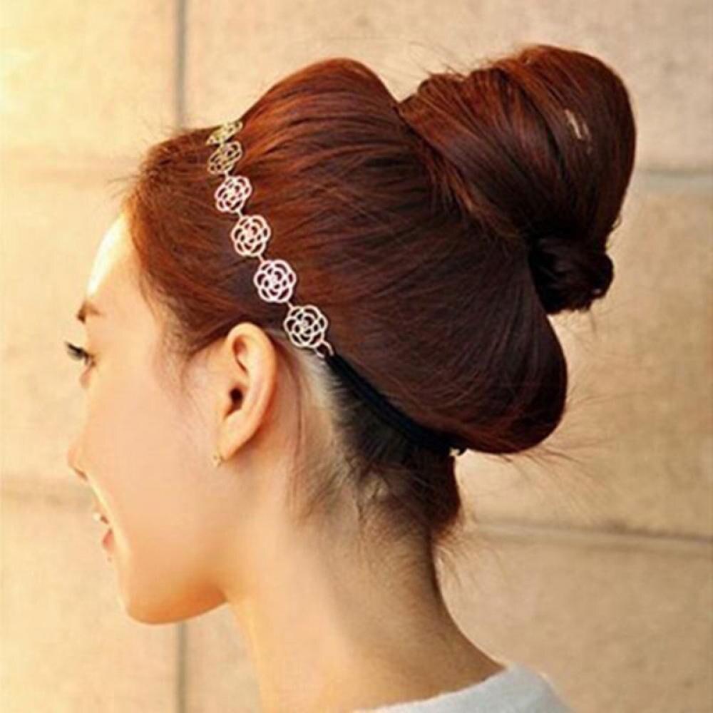 Fashion New Lovely Metallic Lady Hollow Rose Flower Elastic Hair HeadBand Headband Headwear Accessories Women Garland