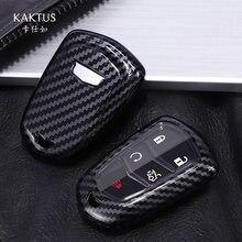 Porte-clés PC + fibre de carbone pour Cadillac ESV Escalade, accessoire pour clé de voiture, pour CT5, XT5, XT6, sc, XTS, SRX, ATS (2015, 2016, 2017, 2018)