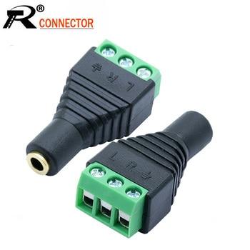 100pcs/lot CCTV Phono Jack 3.5mm Stereo 3 Pins Female Socket to 3 Poles AV Screw Balun Terminal Adapter 3.5mm AV 3 Pin Converter