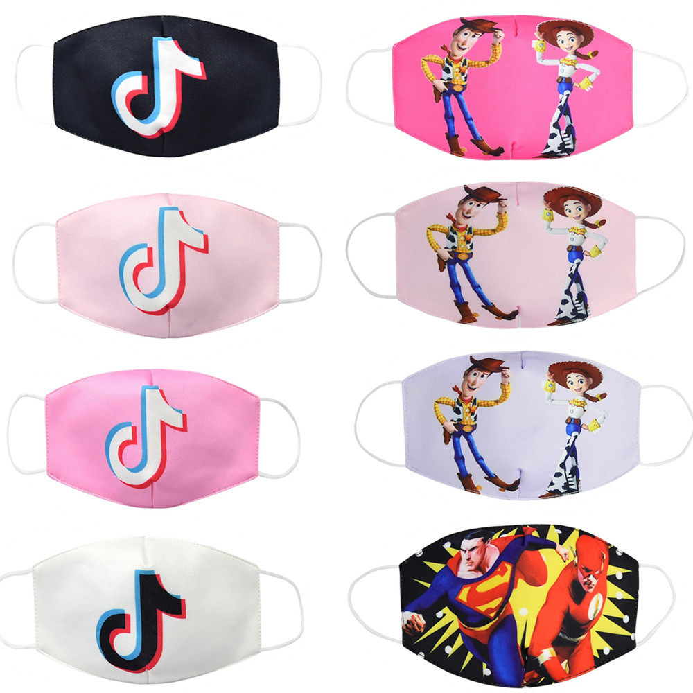 Cartoon Printed Children Printed Mask With Ice Silk Cotton Mask For Kids
