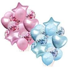 14 pçs balão buquê pacote confetes balão feliz aniversário festa azul rosa helium ballons festa de casamento do chuveiro do bebê suprimentos