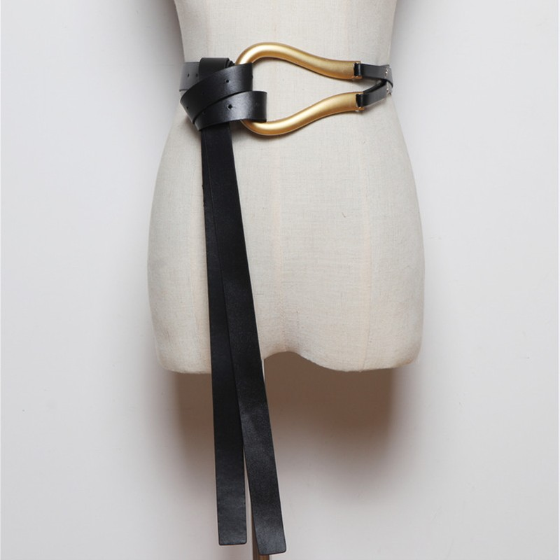 Newest Fashion Soft Faux Leather Belts Personality Big Alloy Buckle Thin Double Layer Waistbands Shirt Knotted Belt Long Straps