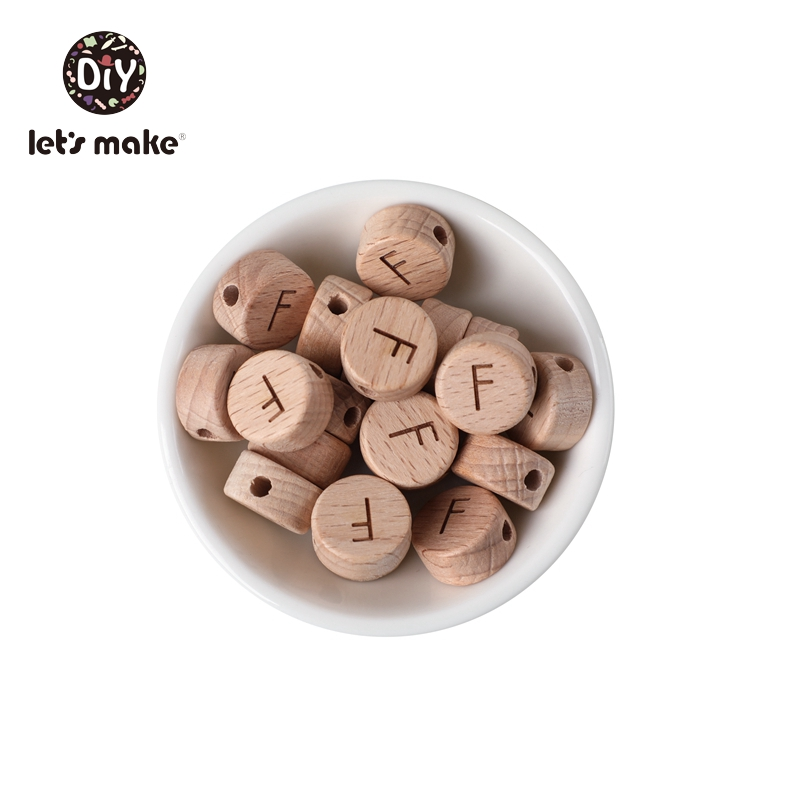 Let's Make Bpa Free Baby Teething Beads Round 26 English Alphabet Letter Teether Wooden Bead Baby Pacifier Chain Personalized