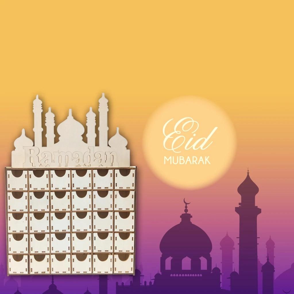 jojofuny Holz Ramadan Kalender Eid Mubarak H/ängen Countdown-Kalender Eid Mubarak Advent Kalender f/ür Eid Ramadan Home Dekorationen