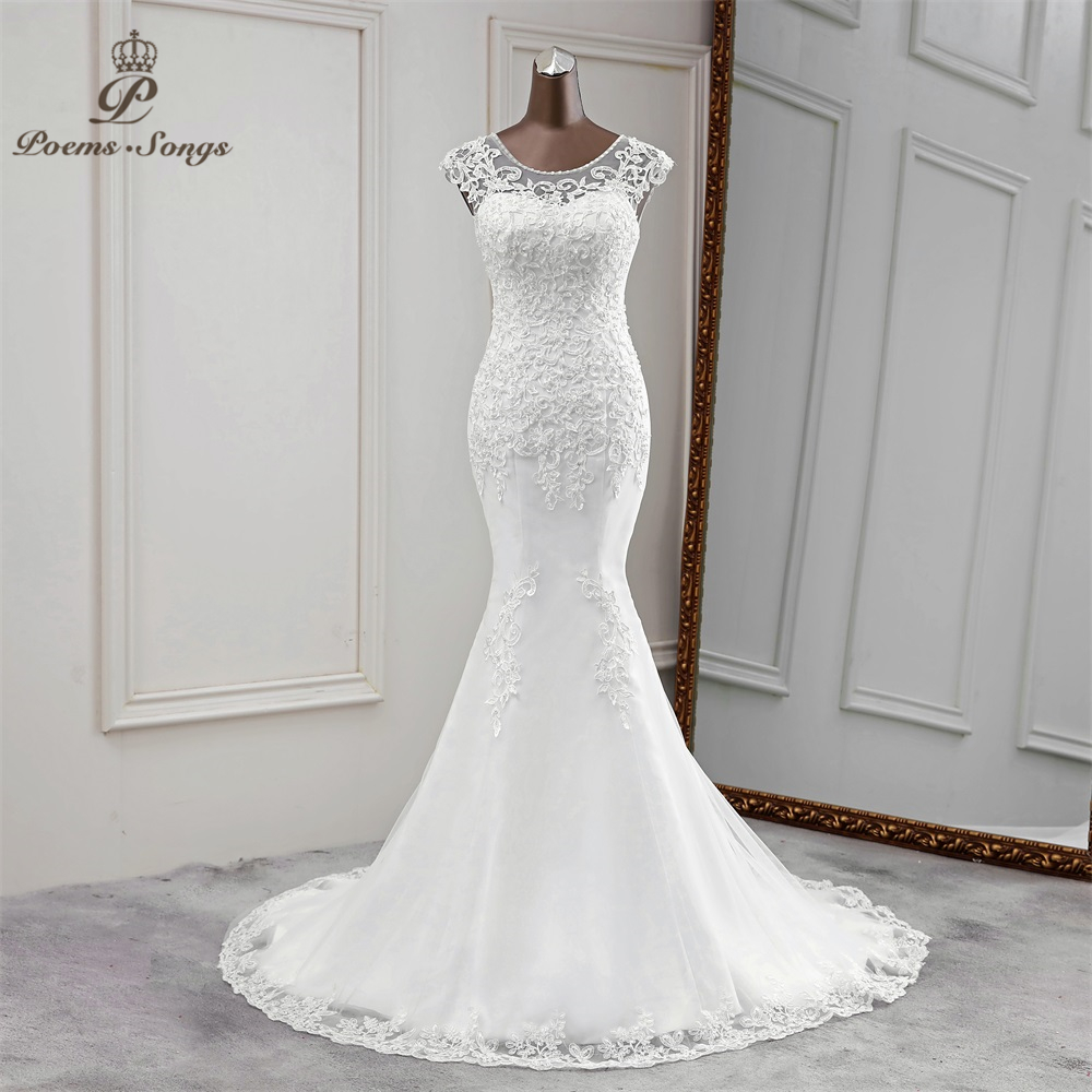 New Mermaid Wedding Dress Sexy Wedding Gowns Flower Robe De Mariee Applique Sleeveless  Vestido De Noiva