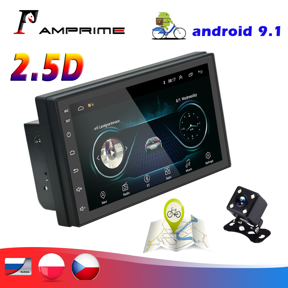 AMPrime 7'' 2din Android Car Radio multimedia player Autoradio GPS WIFI Bluetooth FM For Volkswagen Car Backup Monitor image
