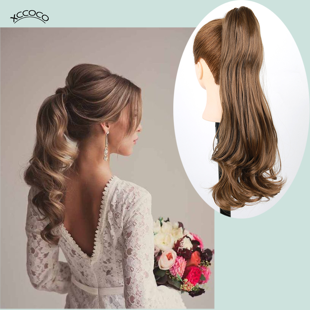 Long Wavy Claw Clip In Ponytail Blonde Hair Extension Heat Resistant Synthetic Brown Ponytail Fake Hair For Women