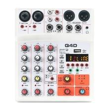 4 canais de áudio misturador de som misturando dj console usb com 48v phantom power 16 efeitos dsp (plug ue)
