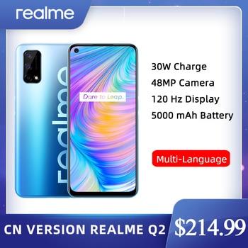 Перейти на Алиэкспресс и купить Realme Q2 5G 4 Гб 128 Dimensity 800U Восьмиядерный мобильный телефон 6,5 ''120 Гц полноэкранный 5000 мА/ч, Батарея 30 Вт Быстрый Зарядное устройство 48MP Камера