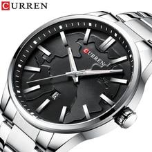 CURREN Fashion Mens Watch Silver Stainless Steel Black Creative Date Waterproof Clocks Luminous Hands Male Quartz Wrist Watches