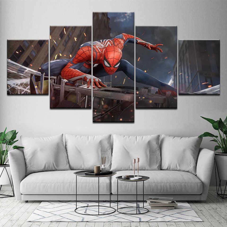 ภาพวาดผ้าใบการนอนไม่หลับ Spider-Man คอสเพลย์ 5 ชิ้นจิตรกรรม Wall Art Modular วอลเปเปอร์พิมพ์โปสเตอร์ห้องนั่งเล่นตกแต่งบ้าน