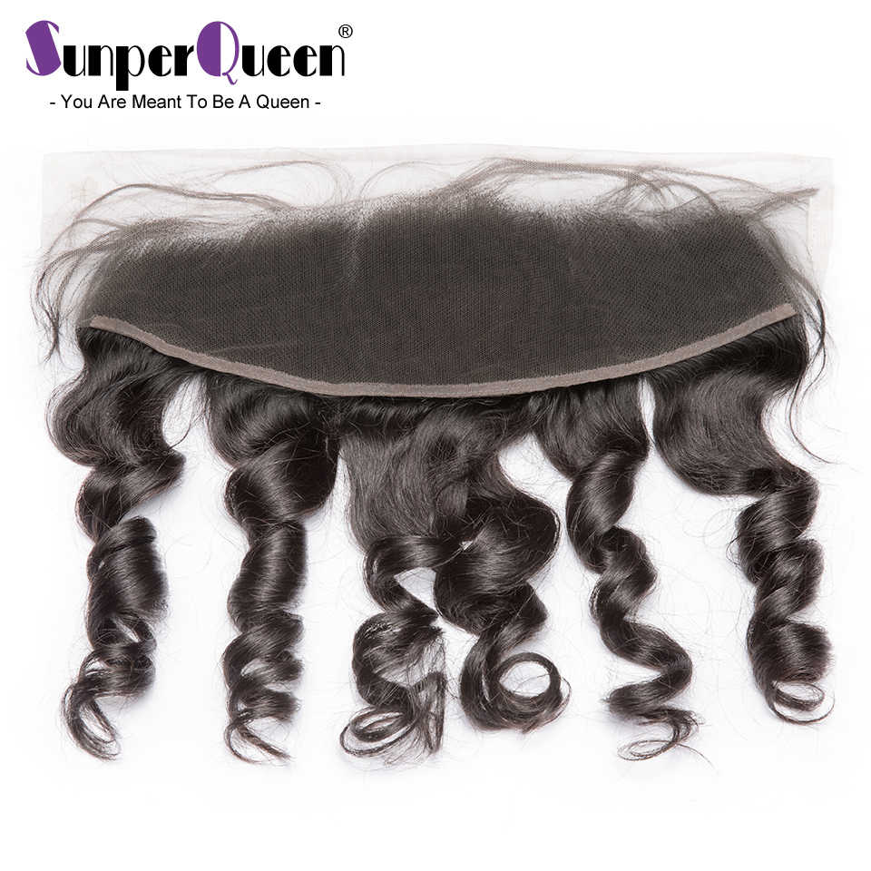 Sunper Queen Lace Frontal Brazilian Loose Wave Virgin Hair M 13x4 Pre Pluck Hairline With Baby Hair Transparent Lace Frontal